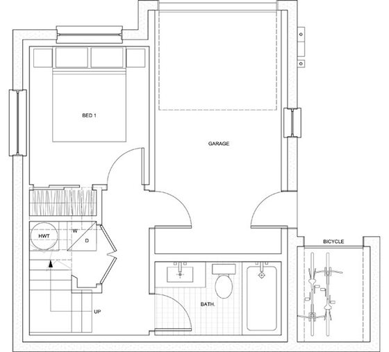 Small house just 500 sq ft with a garage but seems bigger for House plan in 500 sq ft