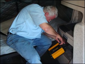 DC-to-AC inverter can fit under the bunk in some trunks or be stored in a cabinet in others.