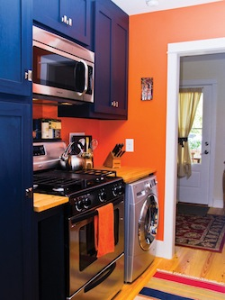they went with a combination washer dryer for the kitchen to conserve on space - Tiny House Washer Dryer