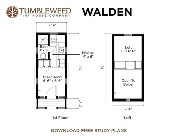 Walden Tiny House   Dormers Walden Tiny House Floor Plan  Walden Floor Plan