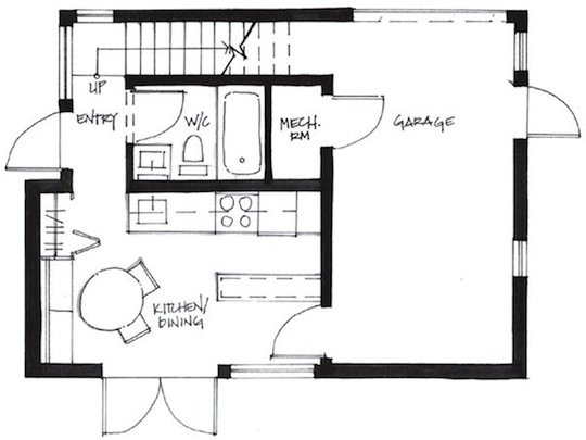 First Level Floor Plan for Small House