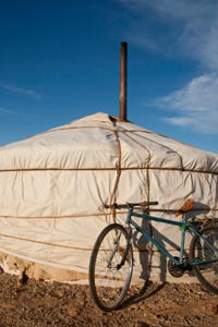 Homemade yurt with bicycle