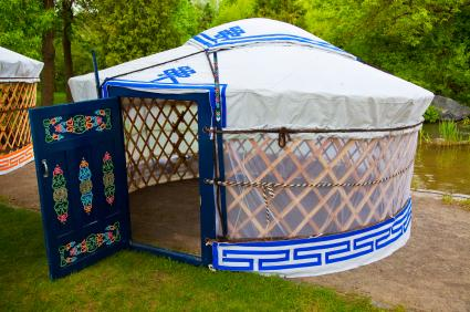 White and Blue Small Portable Yurt